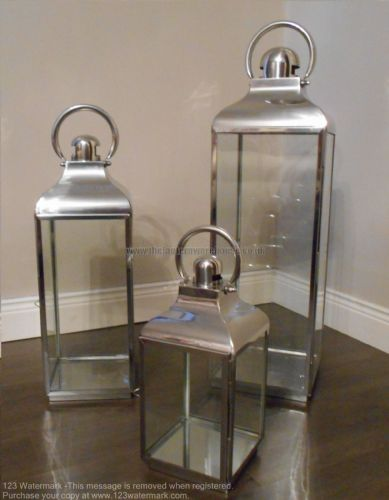 Polished Stainless Steel Lanterns Set of 3 (Rounded Top)